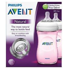 Avent - Natural Pink Feeding Bottle & 1m+ Teat - 2 Pack 260ml / 9oz - Brand New