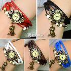 Vintage Women Owl Pendant Weave Wrap Quartz Leather Wrist Watch Bracelet E DZ88