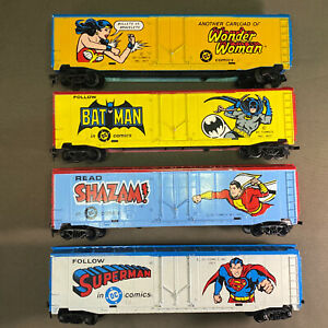 Tyco HO Batman Superman Wonder Woman Shazam! Super Hero Boxcars  DC Comics LOT x
