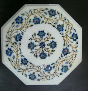 14x14 Inches Marble Side Table Top Inlay End table with Lapis Lazuli Stone work