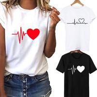 Women Ladies Short Sleeve T-Shirt Tops Blouse Heart Printed Casual Tee Fashion