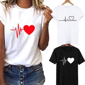 Women Ladies T Shirt Tee Heart Printed Blouse T-Shirt Casual Short Sleeve Tops
