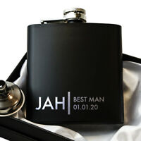 Groomsmen Gift, Best Man Gift  Black Hip Flask With optional Gift Box set HF4