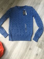 Ralph Lauren Womens Cable Knit Jumper Size XXS - Blue New With Tags