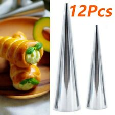 12Pcs Stainless Steel Pastry Cream Horn Cone Shape Bread Cake Mould Baking