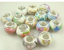 5pcs Silver MURANO Lampwork Beads Fit Charm DIY Bracelet Necklace wholesale anvd