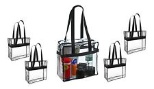 5 Large Clear Stadium Security Shopping Beach Tote Bag Handbag Purse Toys Crafts
