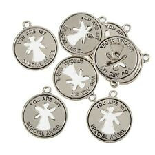 Angel Cut out Disc Beads Tibetan Silver Charm Pendant DIY Bracelet 18*18mm 10pcs