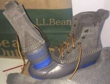 "SHEARLING* 8 Gray/Blue LL BEAN BOOTS DUCK8"".grey.suede Wool/felt.Leather Women's"