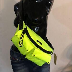 Michael Kors Olivia Large Studded Leon Yellow Satin Belt Bag, Fanny Waist Pack