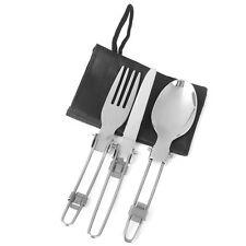 3pcs Camping Hiking Picnic Foldable Cutlery Set Knife Fork Spoon Utensil W/ Bag