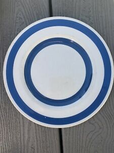 Staffordshire Pottery Iron Stone Chefware Blue White Stripe Dinner Plate