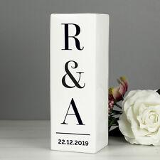 Personalised Initials White flower Vase Wedding Valentine's Anniversary Square