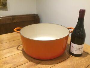 Vintage Le Creuset Casserole Dish Size K Cast Iron 350mm No Lid Volcanic Orange
