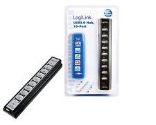 LogiLink USB 2.0 Hub mit Netzteil 10-port schwarz