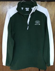 New York Jets Men's Size M Green 1/4 Zip Pullover Fleece Jacket NFL Football