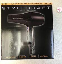 StyleCraft Professional Hair Dryer 2000 with Powerful AC Motor Ceramic 2 Speed