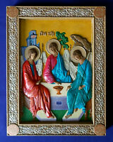 WOODEN CARVED HAND PAINTED RUSSIAN GREEK ORTHODOX ICON HOLY TRINITY