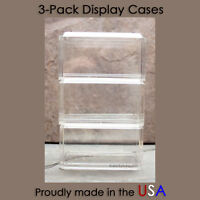 3 NEW 1:64 Scale Crystal Clear Acrylic Display Cases Matchbox Hot Wheels USA