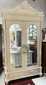 Rustic farmhouse wardrobe, Armoire, Bookcase, French, Louis XV, Painted