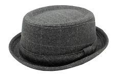 Unisex Tweed Design charcoal Grey Checked Pork Pie Trilby Hat