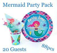 Mermaid Party Birthday Theme Tableware Supplies Plates Cups Napkins Paper Straws