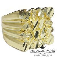 HEAVY BIG BOLD NEW MEN'S SQUARE NUGGET 10K 100% YELLOW GOLD RING BAND SIZE 10