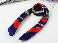 Small Square Silk Scarf Blue and Red Theme XFJ031