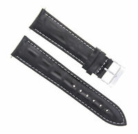 22MM ITALIAN LEATHER WATCH BAND STRAP FOR TAG HEUER AQUARACER F1 BLACK WHITE ST