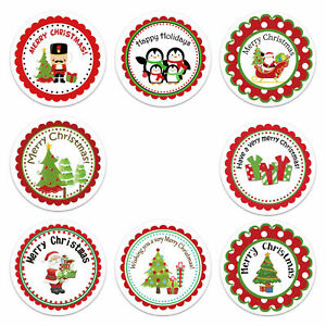 HAPPY HOLIDAYS Stickers Labels Decorating Present Seals Xmas MERRY CHRISTMAS
