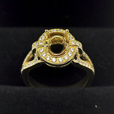Gold Semi Mount Natural Diamond Ring 7x9mm Oval Cut Solid 14kt 585 Yellow