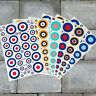 Set Of 58 RAF Roundels - Vinyl Decal Sticker Multipack - Sizes 5mm - 40mm