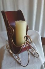 Christmas Red Sleigh Candleholder with Gold Base/Trim(Without Candle)