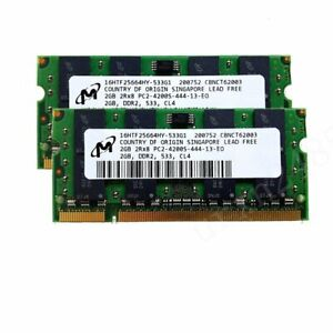 For Micron 4GB 2x 2GB DDR2 533MHz PC2-4200S 2Rx8 200Pin SODIMM Laptop Memory BT