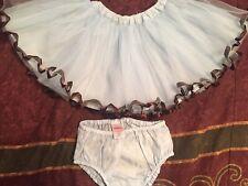 Gymboree Girls Best Friend Blue Brown Tulle Ribbon Tutu Skirt 12-18 Months EUC