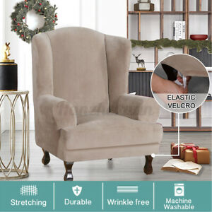 Soft Velvet Wing Back Armchair Cover Stretch Printed Chair Slipcover