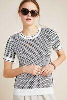 BY ANTHROPOLOGIE Black & White Short Sleeve Keaton Sweater Tee Size Medium 8 10