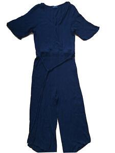 Cotton On size 14 Black Cross Front Short Sleeve half leg Jumpsuit