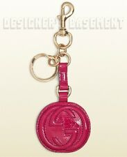 GUCCI fuchsia Patent Leather SOHO Interlocking G Charm clip Key Ring NIB Authent