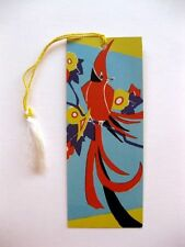 Vintage 1920s Bridge Tally Deco Red Bird and Flowers
