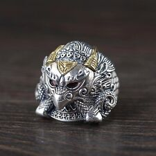 Solid 925 Sterling Silver Mens Heavy Mythical Eagle Ring Open Adjustable Size