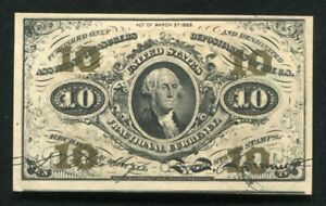 FR 1255 10 TEN CENTS THIRD ISSUE FRACTIONAL CURRENCY NOTE ABOUT UNCIRCULATED