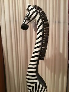 Fair-trade Ornamental tall wooden zebra. Brand new with tags.