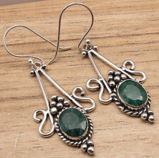 Green Simulated Emerald Gemset Ethnic Earrings Style on Focus 925 Silver Plated