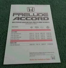 October 1985 HONDA ACCORD SALOON & PRELUDE UK PRICE LIST SINGLE SHEET - BROCHURE