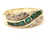 Vtg 14K Gold Natural Emerald Diamond Ring Sz 6.25 Estate .4 Carat Cluster Wave
