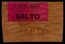 URUGUAY TRAIN RAILWAY UNUSUAL OFICIAL PARCEL SEAL BAND STAMP TPO CENTRAL A SALTO