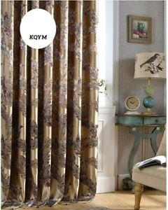 2pr. Elegant Chinese Luxury Living Room Embroidered Silk Blackout Curtain Panels