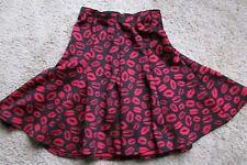 MARILYN MONROE Women's Black & Red Stretch Lip Print Panel Flare Skirt S NEW