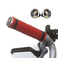 Silicone M/H/S Grips + Aluminium Handlebar Plugs for BROMPTON Red
